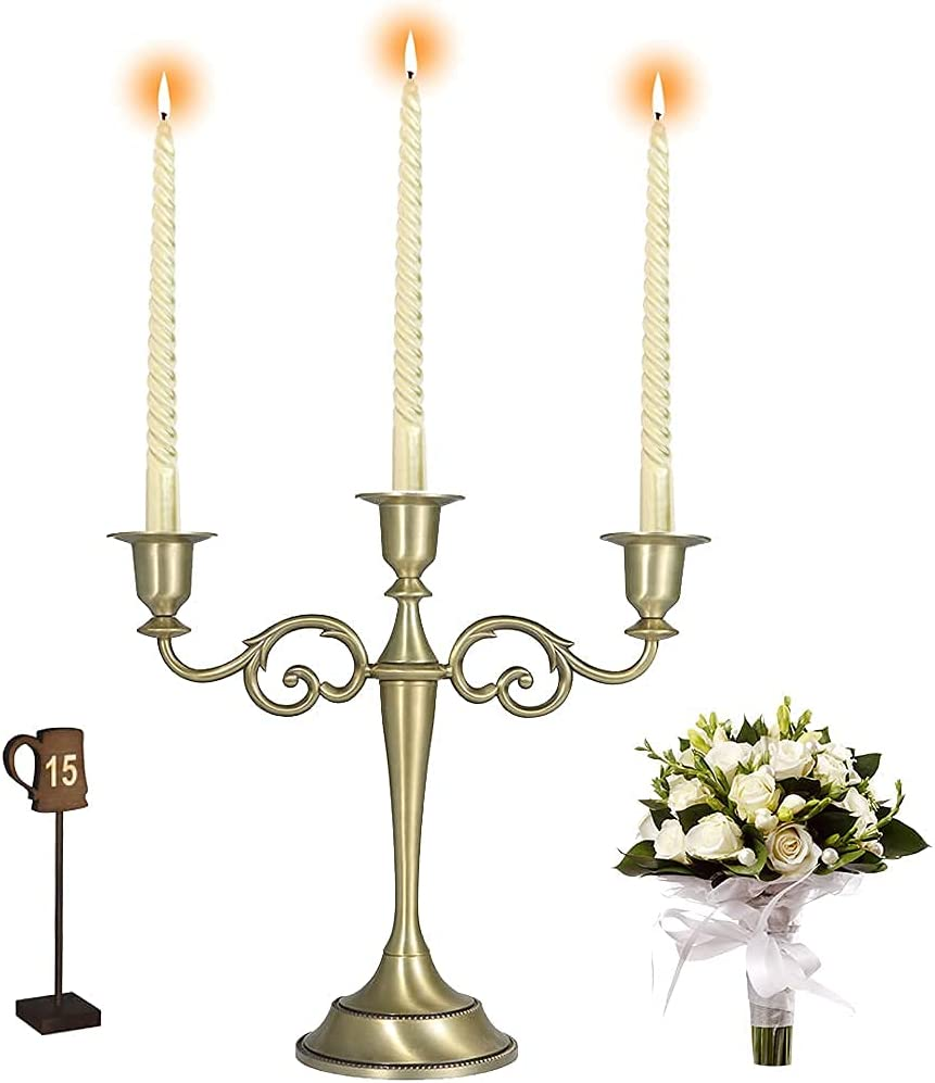 3 Arms Candle Holders, Candelabra Candle Holder Brass, Wedding Candle Holders, Candelabra Centerpieces, Candlestick Holders, Taper Candle Holder (Golden)
