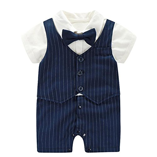 Tie Package Fairy (Fairy Baby Baby Boy Formal Outfit Short Sleeve Tuxedo Plaid Gentleman Suit,6-9M,Navy Blue Stripe)