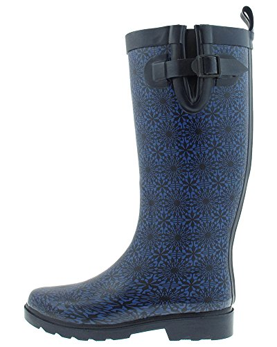 Capelli New York Small Daisy Lace Printed Ladies Tall Rubber Rain Boot Navy Combo oTqxKIHufp