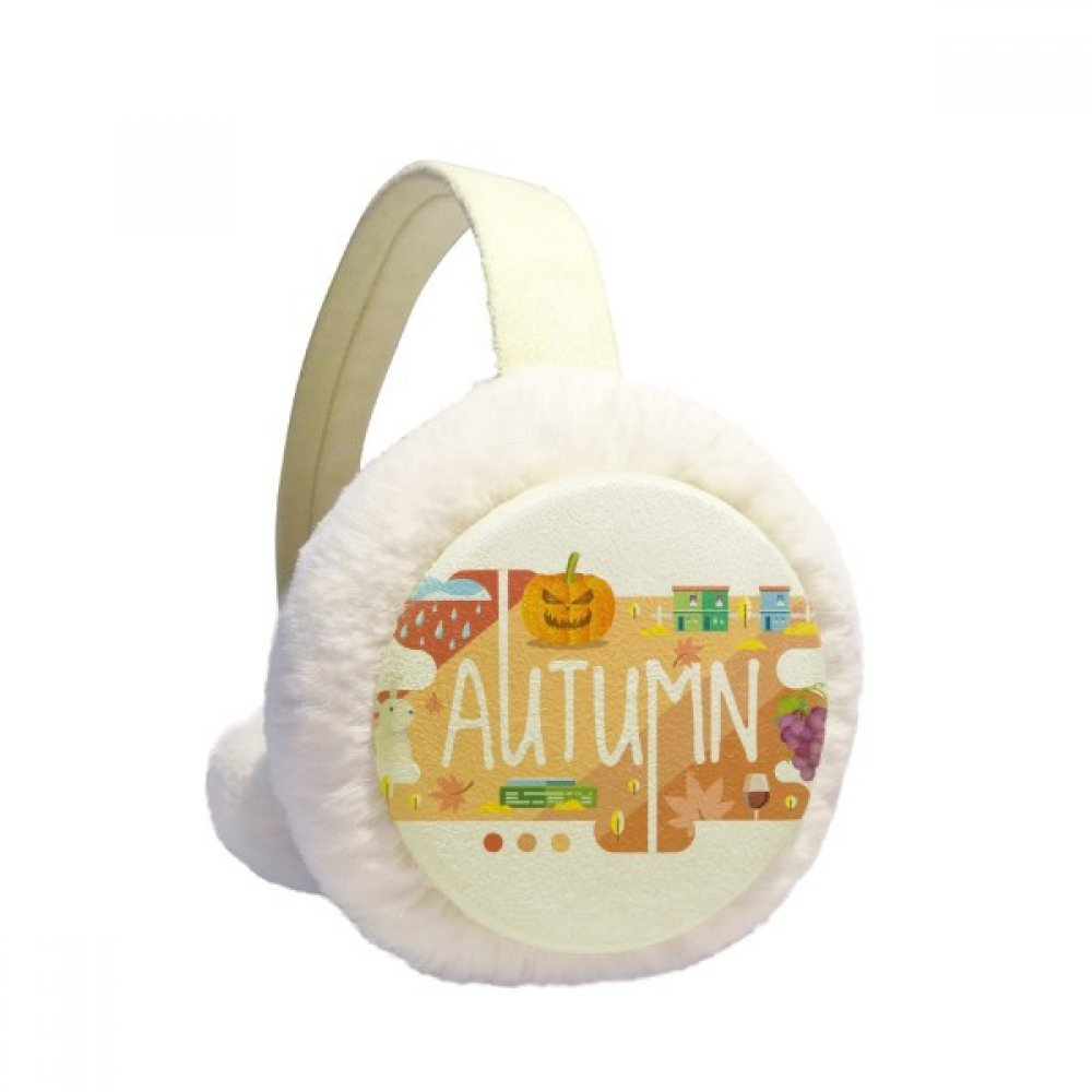 Autumn Season Illustration Winter Earmuffs Ear Warmers Faux Fur Foldable Plush Outdoor Gift