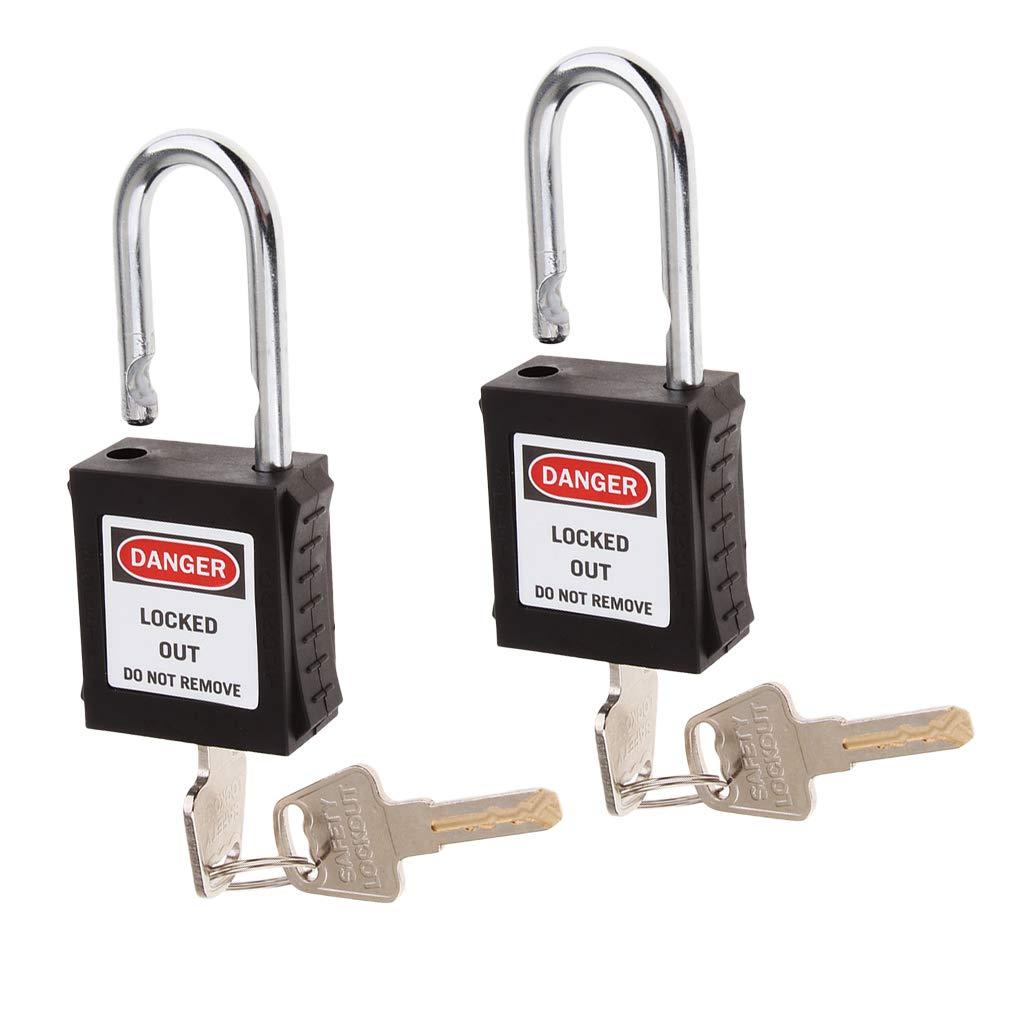Black D DOLITY 2 Pieces Safety Padlock Lockout Tagout Padlock Lock