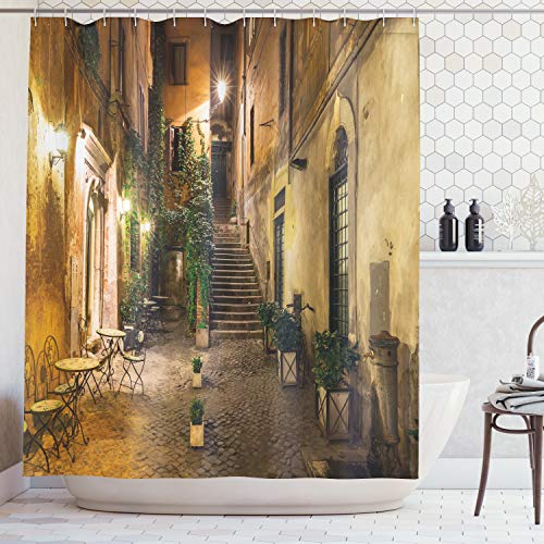 Ambesonne Italian Shower Curtain, Old Courtyard Rome Italy Cafe Chairs City Historic Houses in Street, Cloth Fabric Bathroom Decor Set with Hooks, 70 Inches, Orange Brown