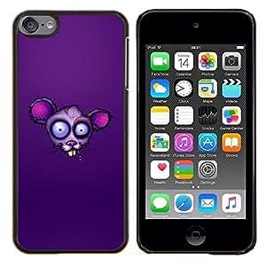 YiPhone /// Prima de resorte delgada de la cubierta del caso de Shell Armor - Cara púrpura de la rata - Apple iPod Touch 6 6th Touch6