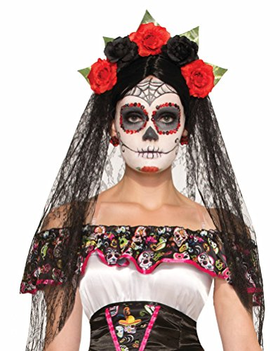 [Day of the Dead Veil Headband Costume Accessory] (Day Of The Dead Female Mask)