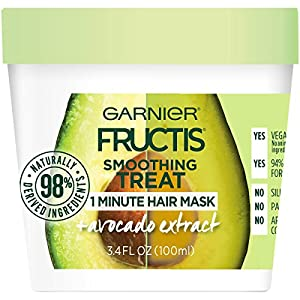 Garnier Hair Care Fructis Avocado Hair Treats, Smoothing Hair Mask with Avocado Extract, Vegan Formula, No Silicones, No Parabens, 400ML (1) and 100ML (2), 1 Kit