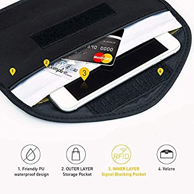2 Pack Faraday Key Fob Protector,Tuulin RFID Blocking Faraday Bag Cell Phone,Faraday Cage Signal Blocker, Cell Phone Key Fob Protector (Large): Car Electronics