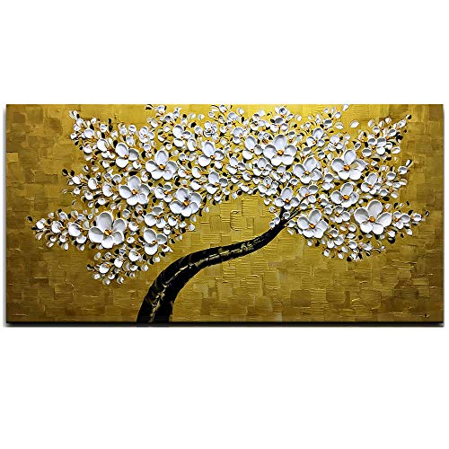 Desihum - 3D Golden and White Flowers Wall Art Stretched Canvas Art Set Framed Ready to Hang for Living Room Office Hotel(24