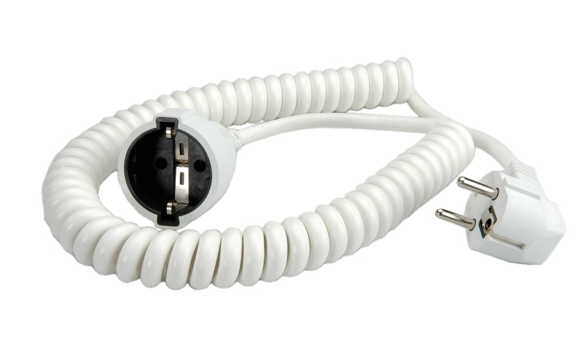 Bachmann 672.280 Schuko curly extension cable 500/2000 mm white 2046047