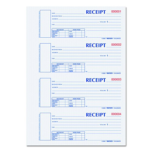 Blueline Rediform Hardcover Carbonless Numbered Money Receipt Book, 300 Duplicate Sets per Book (S1654NCR) ()