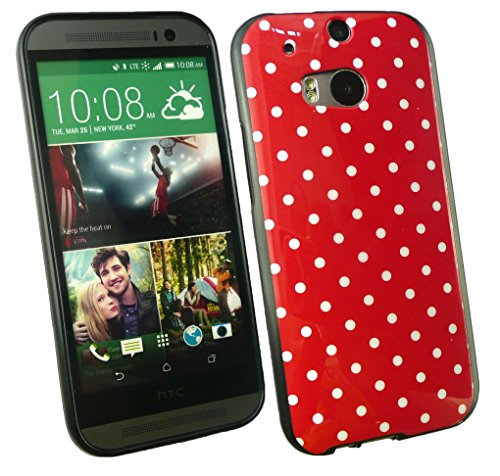 Emartbuy® HTC One M8 2014 Lunares Gel Funda Carcasa Case Cover Hot Rosa / Blanco Rosso / Blanco Lunares Gel