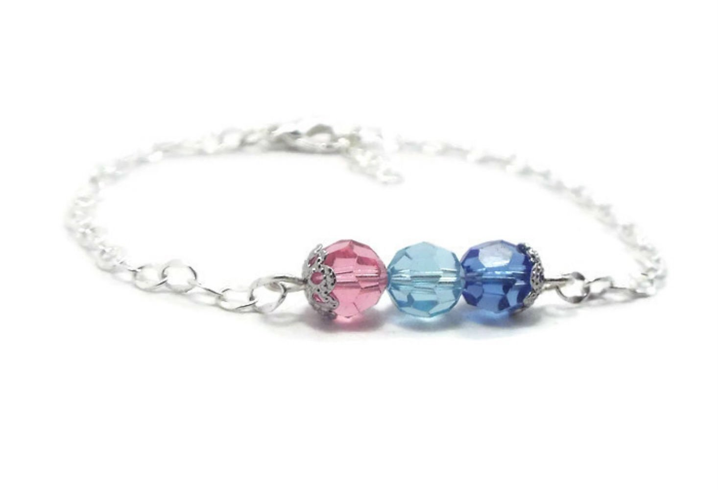 Sterling Silver and Crystal Birthstone Mothers Bracelet Gift for Mom