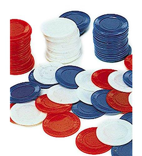 100 Blue Poker Chips - Set Of 100 Poker Chips In Blue (Casino Themed Fancy Dress Costumes)
