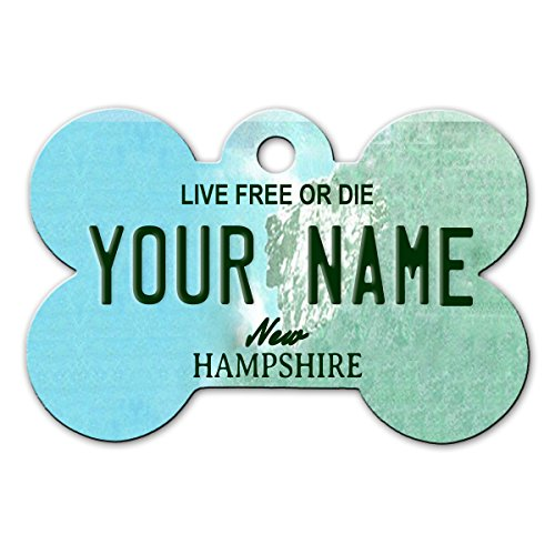 BleuReign(TM) Personalized Custom Name New Hampshire State License Plate Bone Shaped Metal Pet ID Tag with Contact Information