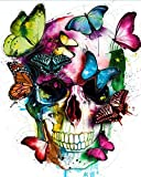 Amphol DIY Paint by Numbers for Adults - Easy Paint by Numbers for Beginner - Acrylic Watercolor Skull Butterfly Paint by Number for Kids - Perfect for Gift Decor 16x20 Inch