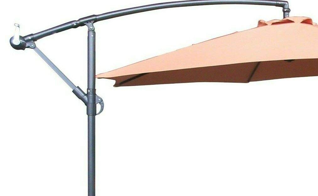 Brown Aquariss 3m Patio Parasol Cantilever Hanging Garden Beach Banana Umbrella UV protection