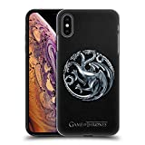 Official HBO Game of Thrones Silver Targaryen Embossed Sigils Hard Back Case for iPhone Xs Max