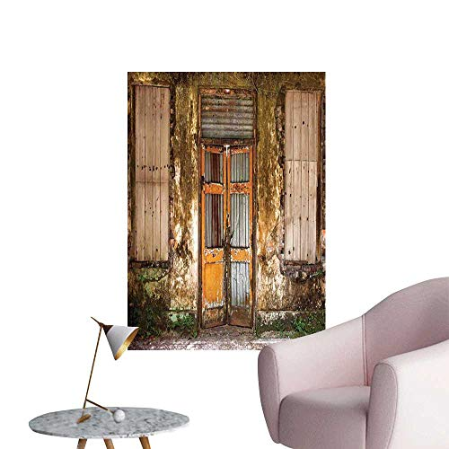 Jaydevn Rustic Poster Sticker Damaged Shabby House with Boarded Up and Rusty Doors and Moldy Windows Photography Creative Self-Adhesive Multicolor W16 x H20 -