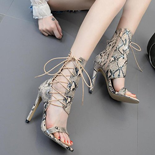 Rawdah Fashion High-Heeled Roman Buckle Strap Shoes Women Sandals Sexy Sandals High Heels Woman Ankle Boots Khaki D90vsEcIM1