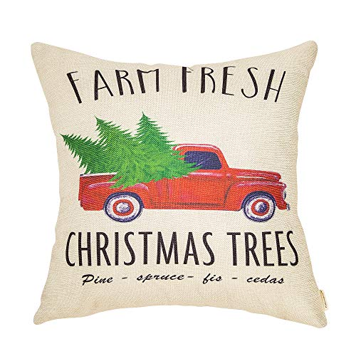 Fahrendom Rustic Farmhouse Style Farm Fresh Christmas Trees Vintage Red Truck Winter Holiday Sign Cotton Linen Home Decorative Throw Pillow Case Cushion Cover with Words for Sofa Couch 18 x - Truck Holiday