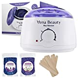 Wax Hair Removal On Head - Wax Warmer, Hair Removal Waxing Kit Electric Hot Wax Heater for Facial &Bikini Area& Armpit with 2 different flavors Hard Wax Beans and Wax Applicator Sticks - Self-waxing Spa in Home