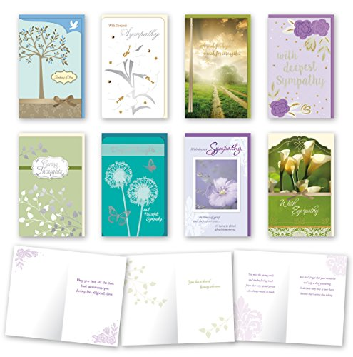 Assorted Sympathy Cards Bulk Card Set of 8 Cards with Envelopes. Large Handmade Cards 5 x 8 with Foil/Glitter Finishes