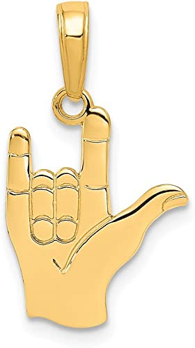 14k Yellow Gold I Love You Hand//sign Language Pendant Charm Necklace Special