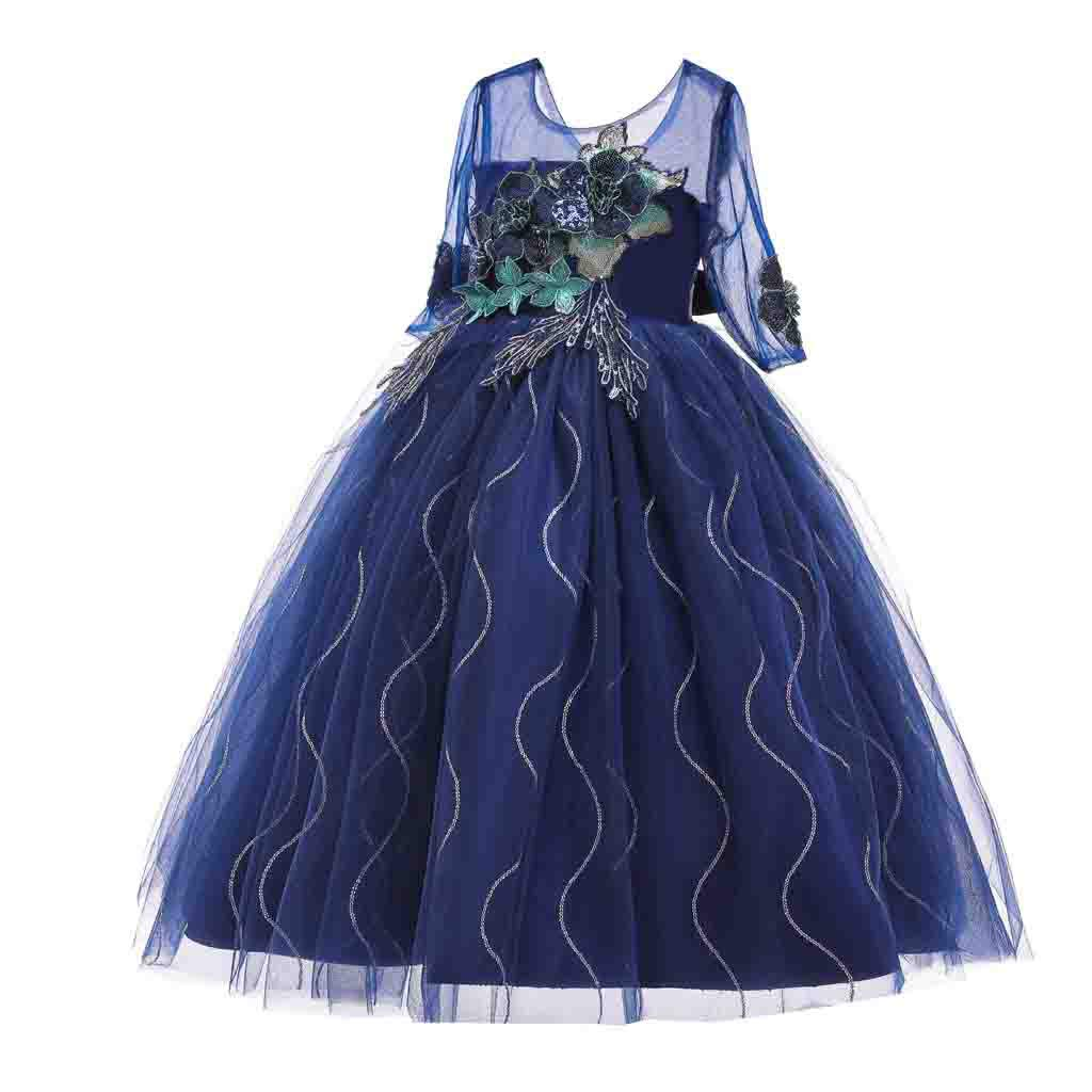 Lavany Little Girl Tulle Princess Dress Half Sleeve Floral Swing Party Maxi Dress by Lavany Girls Dress