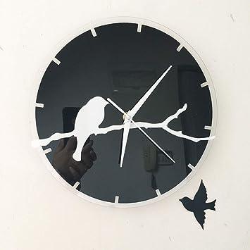 WOOLIY 3D acrílico Creativo Reloj/Pared Adhesivo/estéreo Rama de pájaros Reloj Digital Redondo fácil de Leer casa/Oficina/Escuela Reloj: Amazon.es: Hogar