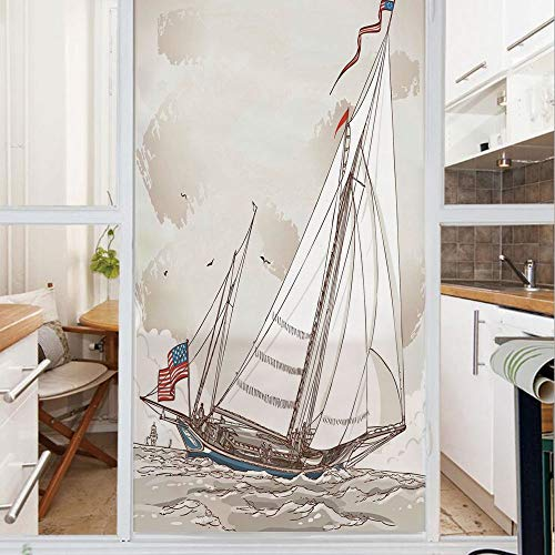 - Decorative Window Film,No Glue Frosted Privacy Film,Stained Glass Door Film,Illustration of a Retro View of Antique American Yacht with Flags Ocean,for Home & Office,23.6In. by 78.7In Light Grey Tan W