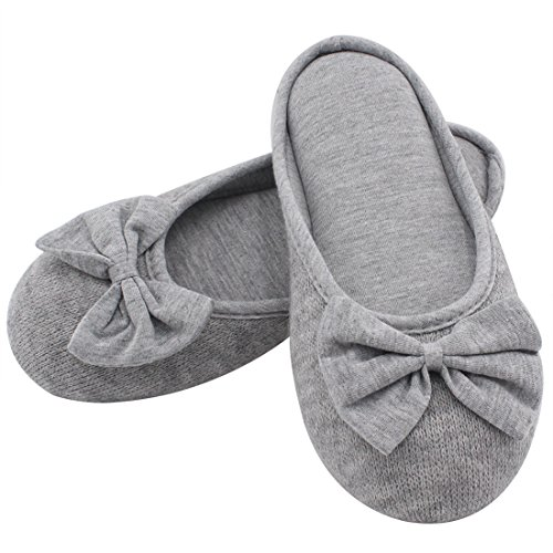 HomeTop Women's Cozy Cashmere Cotton Closed Toe House Slippers with Cute Bow Accent (Small / 5-6 B(M) US, Gray)