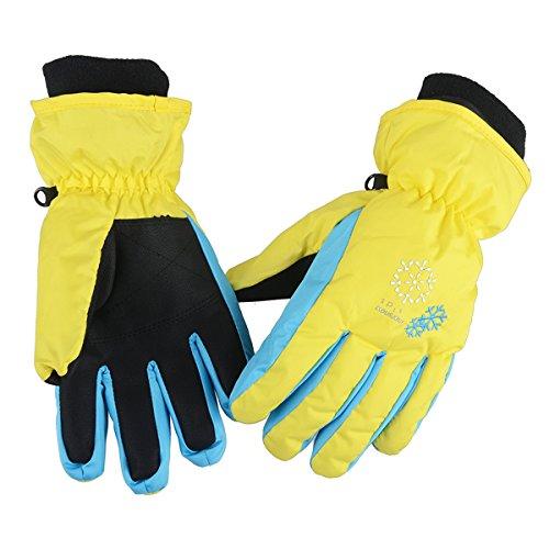 Azarxis Kids Children Ski Gloves Winter Snow Gloves Waterproof Winter Warm Gloves for Snowboarding, Sledding (S, Yellow)