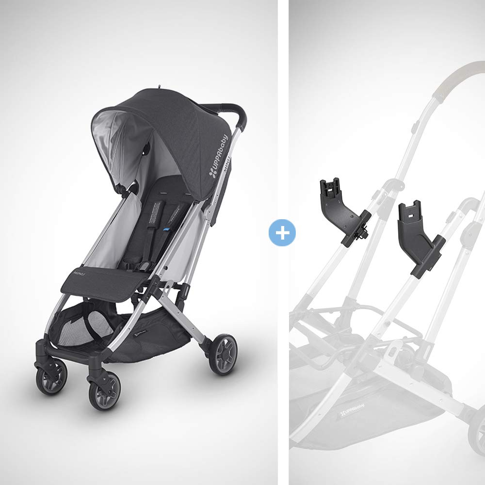 UPPAbaby MINU Stroller + MESA Adapter - Jordan (Charcoal Melange/Silver/Black Leather)