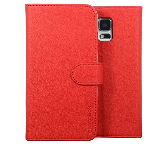 (Galaxy S5 Case, BUDDIBOX [Wallet Case] Premium PU Leather Wallet Case with [Kickstand] Card Holder and ID Slot for Samsung Galaxy S5, (Red))