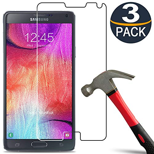 [3 Pack] Galaxy Note 4 Screen Protector [9H Hardness] Tempered Glass [Ultra Clear][Anti Scratch][Bubble Free] Glass Screen Protector for Samsung Galaxy Note 4 (Glass Screen Protector For Note 4)