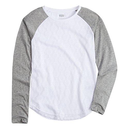 (Levi's Girls' Big Long Sleeve Shirt, White/Grey,)