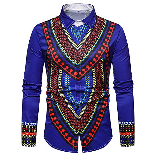 GOVOW African Print Shirts for Men Big and Tall - Autumn Luxury Long Sleeve Dashiki Shirt Top Blouse(US:6/CN:L,Blue) -