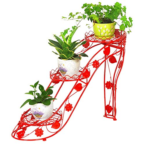 XUE JUN Plant Flower Stand High Heels Creative Style European-Style Style 3/4 Layer Small Volume Living Room Metal Antirust, 4 Colors, 2 Sizes (Color : Red-66x25x54cm)