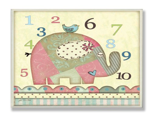 The Kids Room by Stupell Patchwork Elephant with Numbers Rectangle Wall Plaque