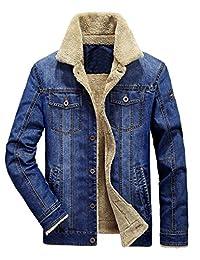 Mordenmiss Men's Long Sleeve Denim Jacket Coat Front Pockets