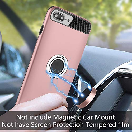 Ownest Compatible with iPhone X Case with Armor Dual Layer 2 in 1 with Extreme Duty Protection and 360 Degree Finger Ring Holder Kickstand Fit Magnetic Car Mount for iPhone X-with car Mount D
