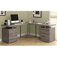 Atlin Designs L Shaped Home Office Desk in Dark Taupe
