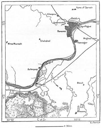 Amazoncom INDIA Varanasi sketch map c1885 old map antique
