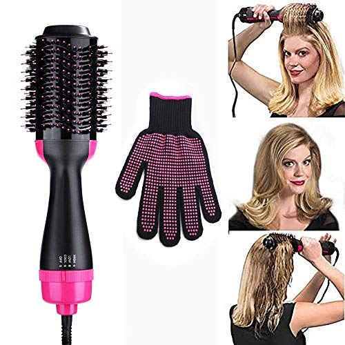 Hair Styler Hot Air Brush, Womdee One Step Hair Dryer and Volumizer 3-In-1 Hair Dryer Volumizing Style Salon Negative Ion Hair Straightener Curly Hair Comb with Anti-Scald Feature for All Hair