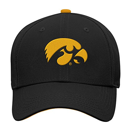(NCAA by Outerstuff NCAA Iowa Hawkeyes Kids & Youth Boys Basic Structured Adjustable Hat, Black, Youth One Size)