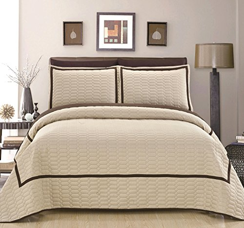 Hotel Collection Quilted Sham - Chic Home Birmingham 3 Piece Cover Set Hotel Collection Two Tone Banded Geometric Embroidered Quilted Bedding - Decorative Pillows Shams Included, Queen, Beige