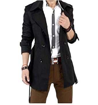 adc4a79bd614 Men Coat Mid Length Vogue Double-Breasted Casual Trench Coat: Amazon.co.uk:  Clothing