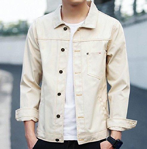Button Collar Down Howme Men Denim Turn Bomber Down Jacket Jean Beige Pocket 5qZwwYB