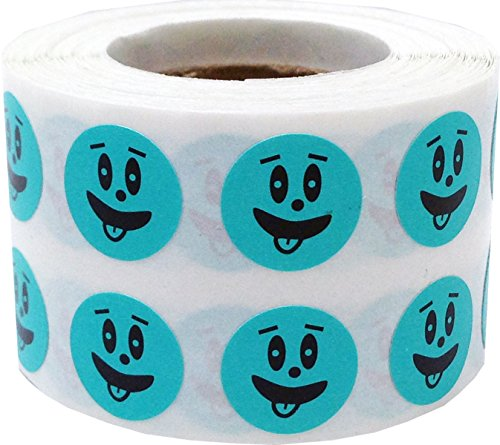 Teal Silly Face Circle Dot Stickers, 1/2 Inch Round, 1000 Labels on a Roll