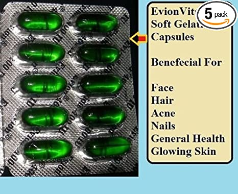 Amazon.com: 50 Evion Capsules Vitamin E For Glowing Face,Strong ...