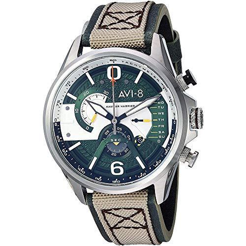 - AVI-8 Men's Hawker Harrier II Stainless Steel Japanese-Quartz Aviator Watch with Leather Strap, Beige, 22 (Model: AV-4056-02)